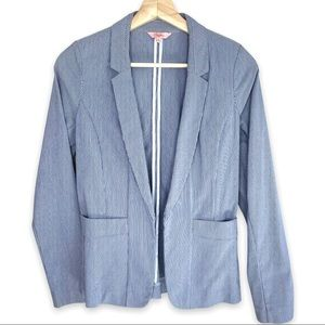 Candies Blue and White Striped Double Pocket Open Blazer